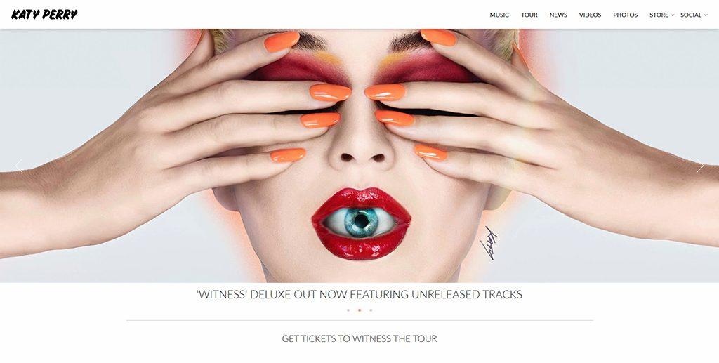 Famous WordPress websites - Katy Perry