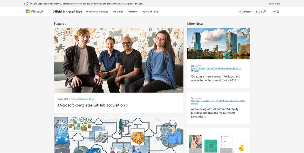 Famous WordPress Websites - Microsoft
