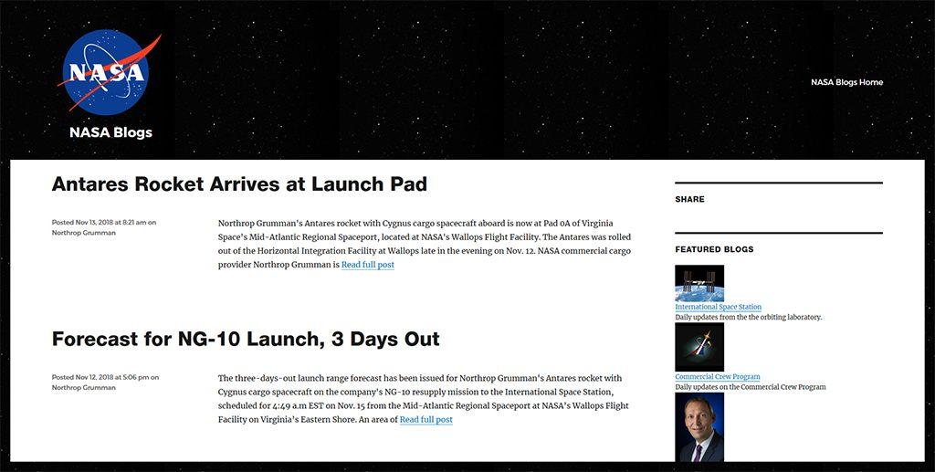 Famous WordPress Websites - Nasa Blog