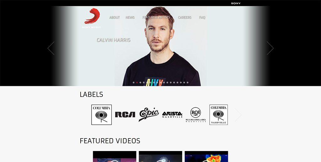 Famous WordPress Websites - Sony Music