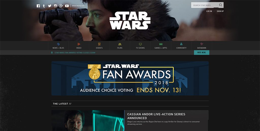 Famous WordPress Websites - Star Wars