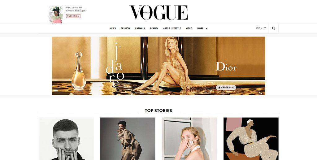 Famous WordPress Websites - Vogue